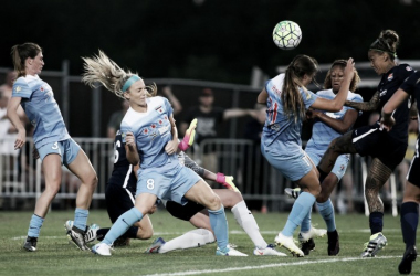 Julie Johnston and her defensive mates guard the Red Stars net (photo courtesy of Sky Blue FC)