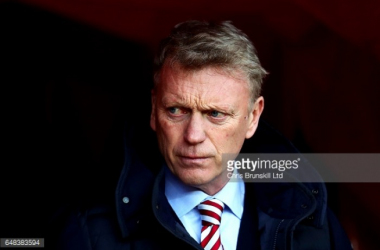 Sunderland boss David Moyes looks on in their most recent fixture at home to Manchester City.