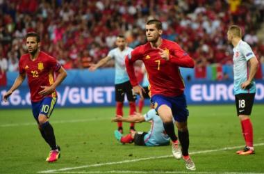 Morata inscrit un but face à la Turquie. - BULENT KILIC / AFP
