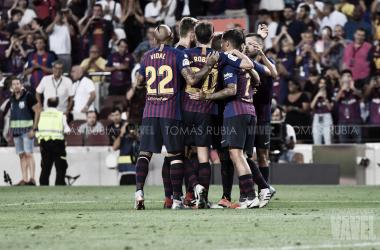 Los azulgranas celebrando un gol en el Camp Nou | Foto de Tomás Rubia, VAVEL