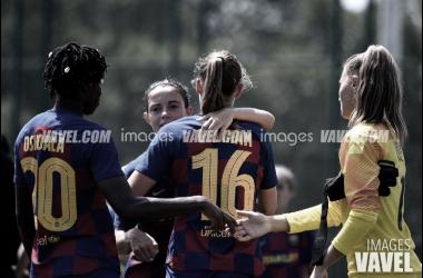 Las jugadoras del Barça celebran un tanto durante la pretemporada. FOTO: Noelia Déniz