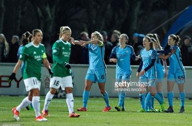 Manchester City players celebrates Carli Lloyds goal