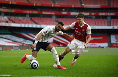 <div>Arsenal v Manchester City - Premier League</div><div><br></div><div>LONDON, ENGLAND - FEBRUARY 21: Riyad Mahrez of Manchester City in action with Kieran Tierney of Arsenal during the Premier League match between Arsenal and Manchester City at Emirates Stadium on February 21, 2021 in London, United Kingdom. Sporting stadiums around the UK remain under strict restrictions due to the Coronavirus Pandemic as Government social distancing laws prohibit fans inside venues resulting in games being played behind closed doors. (Photo by Marc Atkins/Getty Images)</div>
