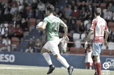 Álvaro Giménez tras marcar el momentáneo 1-1 frente al Lugo la semana pasada. Fuente: UD Almería