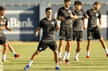 Entrenamiento de los jugadores del Málaga CF. Fuente: web Málaga CF.