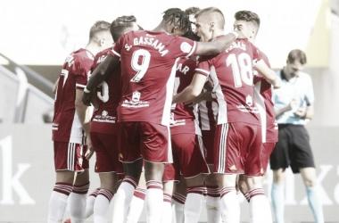 La plantilla celebrando el 0-1 de José Romera. Fuente: UD Almería