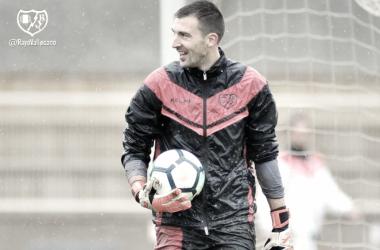 Mario durante una sesión de entrenamiento | Fotografía: Rayo Vallecano S.A.D.