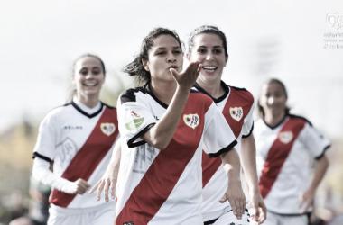 Oriana celebrando su gol desde los 11 metros | Fotografía: Rayo Vallecano S.A.D.