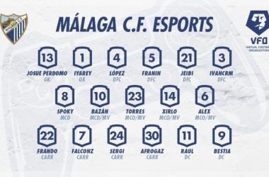 Plantilla con la que se disputarán los partidos de Esports / Foto: Málaga CF