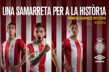 Pere Pons, Portu y Granell son la imagen del club para la presentación de la nueva camiseta. | Foto: Girona FC.