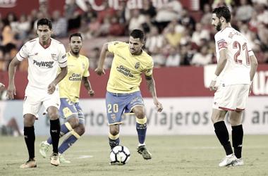 Vitolo jugando ante el Sevilla | Foto: www.udlaspalmas.es