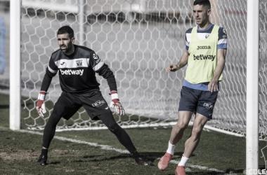 Riesgo y Sabin durante un entrenamiento | Foto: CD Leganés