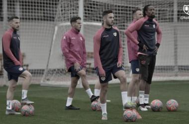 Algunos de los jugadores en el entrenamiento | Foto: Rayo Vallecano S.A.D.