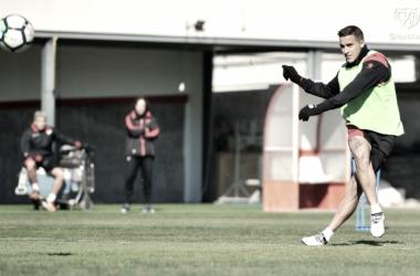 Trejo durante una sesión de entrenamiento | Fotografía: Rayo Vallecano S.A.D.