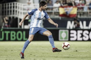 Adrián González en un partido esta temporada | Foto: Málagacf.com