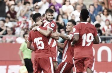 Jugadores celebrando un gol contra el Tottenham / Fuente: Girona FC