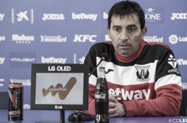Asier Garitano durante la rueda de prensa | CD Leganés