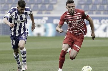 Imagen de Quini durante el partido./Fuente: Granada CF.