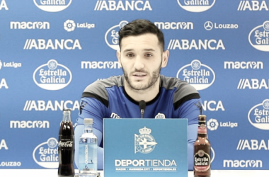 Lucas Pérez en rueda de prensa. FOTO: RC Deportivo