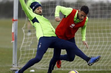 Vadillo y Quini en el entrenamiento de este miércoles. Foto: Pepe Villoslada - Granada CF