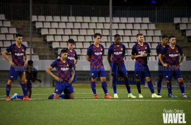 Los jugadores del Barça B durante la tanda de penaltis. FOTO: Noelia Déniz