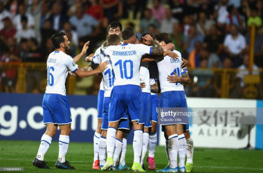 Italy celebrates Belotti's equalising goal at the end of the first half. Photo: Getty Images/Claudio Villa