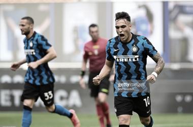 Lautaro Martínez celebró en su partido 100 con el Inter