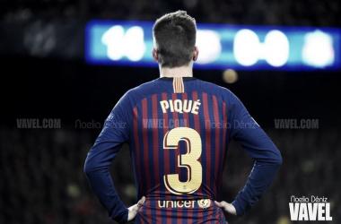 Gerard Piqué en el partido de ida de las semifinales de la UEFA Champions League, disputado ante el Liverpool Football Club de Jürgen Klopp en el Camp Nou | Foto de Noelia Déniz, VAVEL