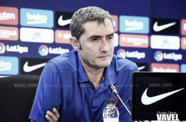 Ernesto Valverde en una rueda de prensa previa durante la presente temporada   Foto de Noelia Déniz, VAVEL