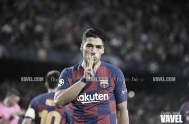 Luis Suárez celebrando su segundo gol frente al Inter   Foto: Noelia Déniz