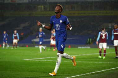 Tammy Abraham of Chelsea celebrates after scoring their team's third goal during the Premier League match between Chelsea and West Ham United at Stamford Bridge on December 21, 2020 in London, England. (Photo by Chris Lee - Chelsea FC/Chelsea FC via Getty Images)