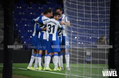 Los jugadores del Espanyol celebrando un gol ante el Ludogorets | Foto: Noelia Déniz (VAVEL)