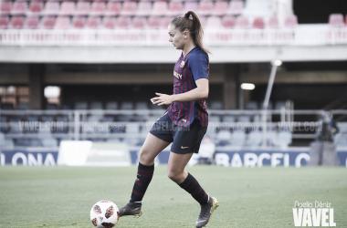 Lieke Martens con la elástica del Fútbol Club Barcelona durante la pasada temporada | Foto de Noelia Déniz, VAVEL