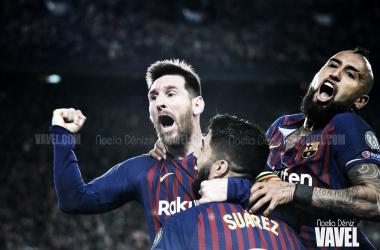 Leo Messi celebrando un gol ante el Liverpool Football Club en el partido de ida de las semifinales de la UEFA Champions League 2018/19 | Foto de Noelia Déniz, VAVEL