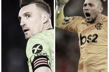 MANO A MANO INTERESANTE. Armani(izquierda) y Alves(derecha) son los guardanes del arco en sus respectivos conjuntos. Foto: Nicolás Castillo-Vavel Argentina