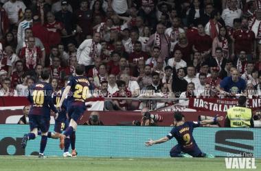 Celebración de un gol en la final de la Copa del Rey 2017/18 | Foto de Noelia Déniz, VAVEL