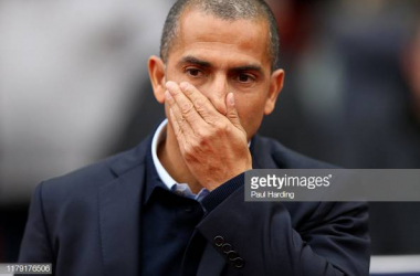 WIGAN, ENGLAND - OCTOBER 20: Sabri Lamouchi manager of Nottingham Forest during the Sky Bet Championship match between Nottingham Forest and Wigan Athletic at DW Stadium on October 20, 2019 in Wigan, England. (Photo by Paul Harding/Getty Images)