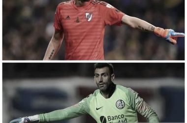 MANO A MANO. Armani(arriba) y Torrico(abajo) en un interesante duelo. Foto: Nicolás Castillo-Vavel Argentina