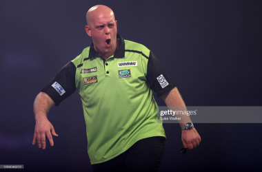 Reigning champion Michael van Gerwen come through a nail biting encounter with Scott Mitchell(Photo by Luke Walker/Getty Images)