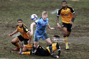 Above: Both Forest Green Rovers and Newport County battle for possession in torrid conditions, earlier in the season. (Source- Michael Steele, Getty Images)