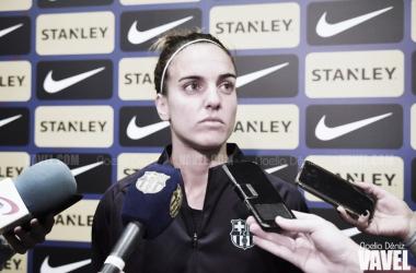 Melanie Serrano en la rueda de prensa previa al partido de ida de los octavos de final de la Copa de la Reina | Foto de Noelia Déniz, VAVEL