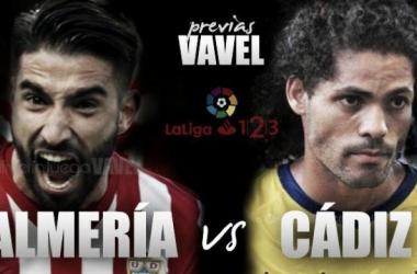 Previa UD Almería - Cádiz CF: Duelo de necesitados en Almería.   Fotomontaje: VAVEL.