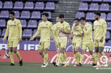 Los jugadores celebrando uno de sus goles | Foto: LaLiga Santander