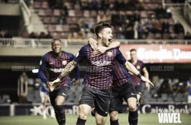 Carles Pérez celebrando un gol ante elClub Lleida Esportiu en el Miniestadi | Foto de Noelia Déniz, VAVEL
