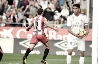 Stuani celebrando su gol frente al Real Madrid. Fuente: Girona