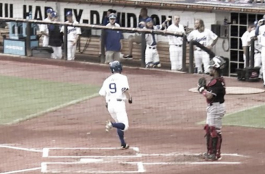 Tim Colwell crosses the plate. (Screenshot captured via americanasscoiationbaseball.tv)