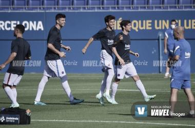 Riqui Puig, Piqué y Sergi Roberto entrenando. | Foto: Noelia Déniz (VAVEL)