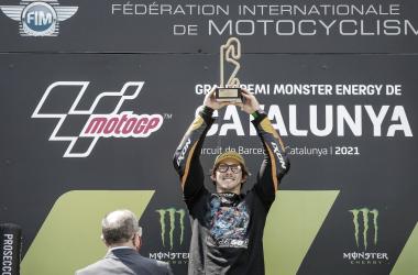 Remy Gardner en el podio de Cataluña / Foto: motogp.com
