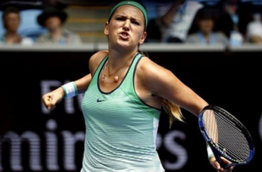 Victoria Azarenka celebrates after her win over Danka Kovinic at the Australian Open/Reuters