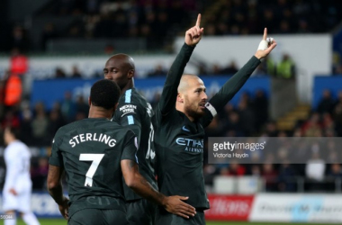 Above: David Silva celebrating one of his two goals in the 4-0 win over Swansea City | Photo: Gety Images/Victoria Haydn - Manchester City FC